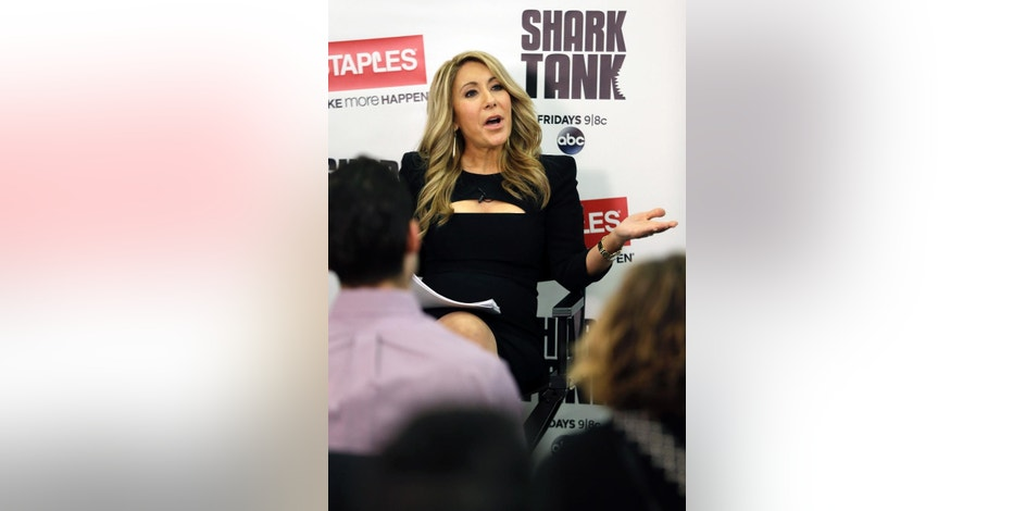 "In this April 7, 2015 photo, Lori Greiner, a television personality from the show ""Shark Tank"", speaks about how to succeed as an entrepreneur, in New York. Greiner, who's sold her jewelry organizers, home decor and other products on QVC since 1998, encourages other entrepreneurs to try to get on air. (AP Photo/Seth Wenig)"
