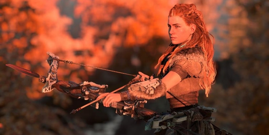 "This photo provided by Sony Computer Entertainment America, LLC shows the female character, Aloy, in the Sony video game, ""Horizon Zero Dawn."" (Sony via AP)"