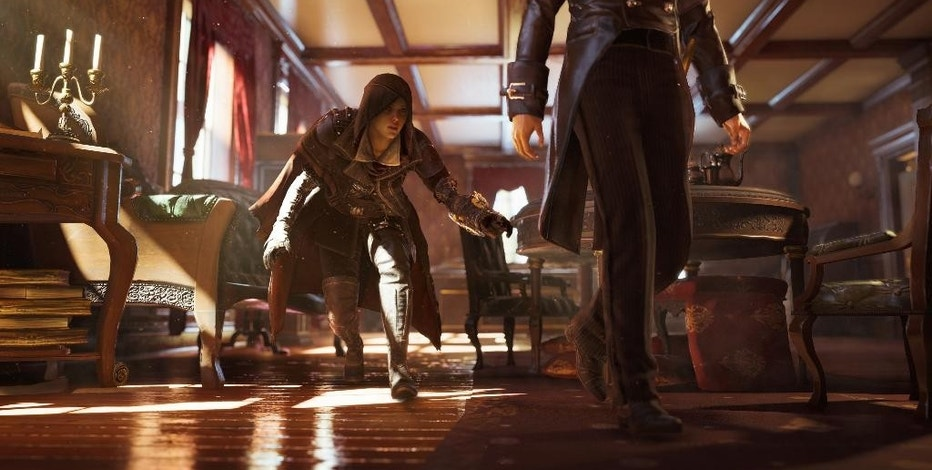 "This photo provided by Ubisoft shows the female character, Evie Stealth, left, in the video game, ""Assassin's Creed: Syndicate."" (Ubisoft via AP)"