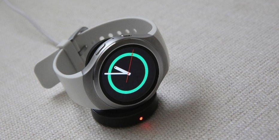 This Tuesday, Sept. 1, 2015, photo shows Samsung's Gear S2 smartwatch during a presentation in New York. Samsung says it expects about 1,000 apps to be available when the S2 launches. (AP Photo/Mary Altaffer)
