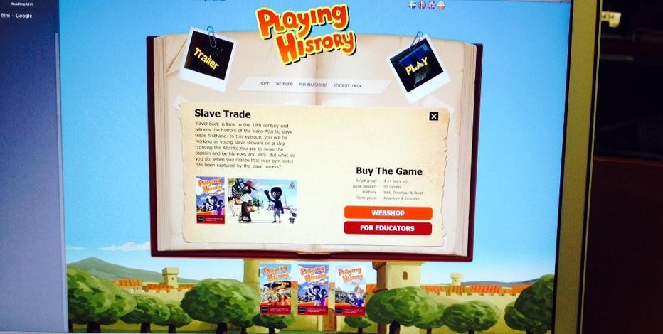 "This photo shows the educational video game, ""Playing History: Slave Trade,"" on a computer screen Wednesday, Sept. 2, 2015, in Los Angeles. The video game has been edited following social media backlash over a scene depicting slaves being loaded into a ship. (AP Photo)"