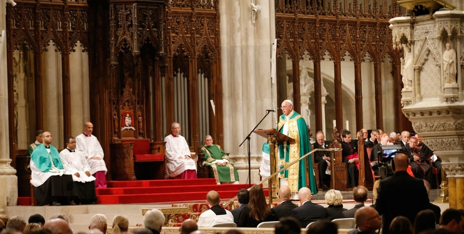 Pope Francis presides over evening prayers at St. Patrick's Cathedral in New York, September 24, 2015.