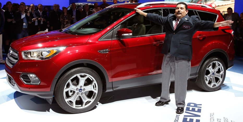 Guillermo Rodriguez of the Jimmy Kimmel show introduces the 2017 Ford Escape at the LA Auto Show in Los Angeles, California.