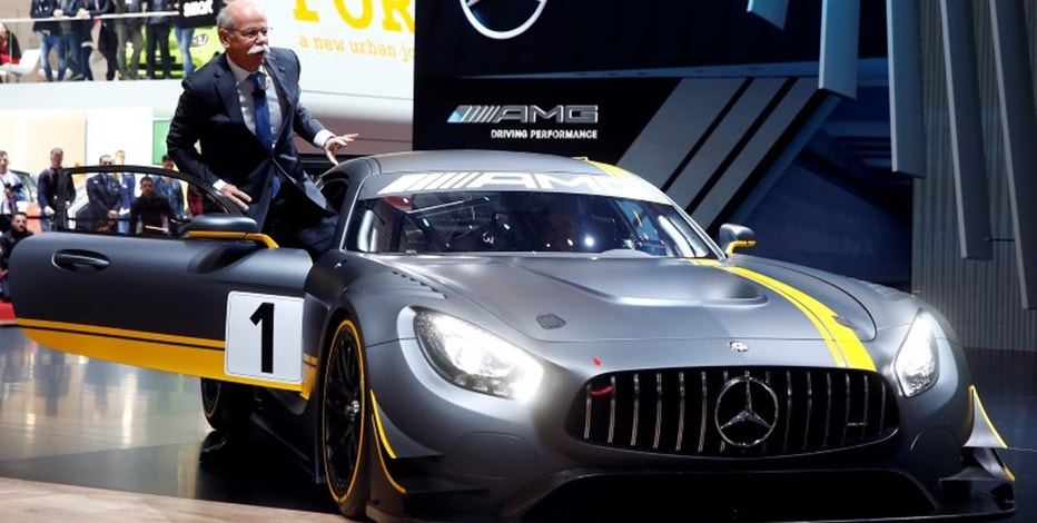Daimler CEO Dieter Zetsche presents the new Mercedes-AMG GT3 race car during the first press day ahead of the 85th International Motor Show in Geneva March 3, 2015.
