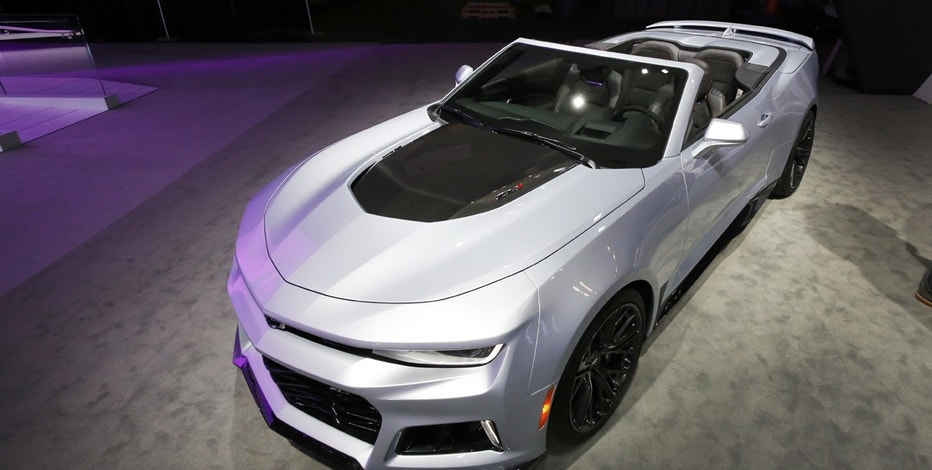 The 2017 Chevrolet Camaro ZL1 Convertible is shown, Thursday, March 24, 2016, at the New York International Auto Show. The engine is a 640-horsepower supercharged V8.