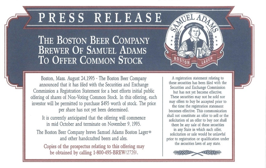 Boston Beer Co. press release for common stock offering, 1995