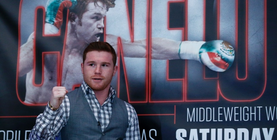 Saul 'Canelo' Alvarez poses during the press conference for his fight with Amir Khan.