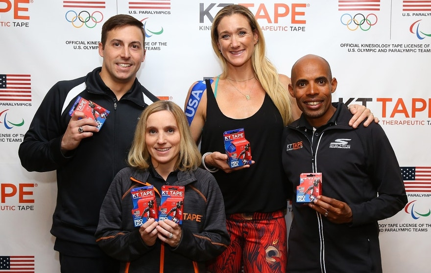 Tucker Dupree, Kerri Strug, Kerri Walsh Jennings and Meb Keflezighi (l to r) representing KT Tape during an event at Chelsea Piers on March 22, 2016 in New York City.