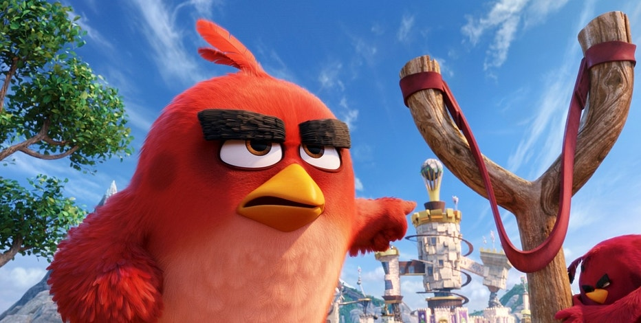 "This image released by Sony Pictures shows the character Red, voiced by Jason Sudeikis, in a scene from ""The Angry Birds Movie."" (Sony Pictures via AP)"