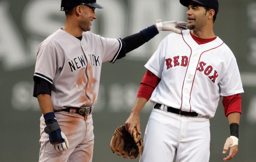 New York Yankees Derek Jeter and Boston Red Sox third baseman Mike Lowell.