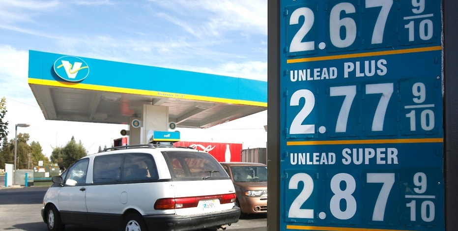 In this Friday, Sept. 25, 2015, file photo, gas prices are displayed at a Valero station in Sacramento, Calif.