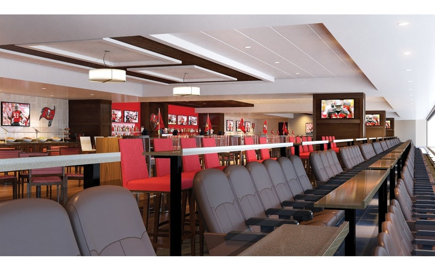 A rendering of Raymond James Stadium's new Hall of Fame Club, a 240-seat suite. The Tampa Bay Buccaneers are introducing fans to the Hall of Fame Club and other new amenities through a virtual-reality tour.