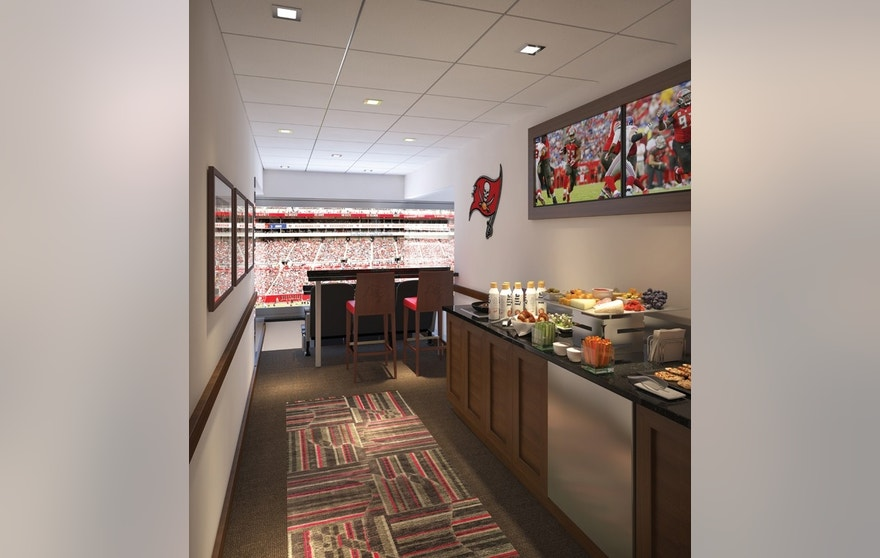 A rendering of an 8-person suite in Raymond James Stadium, which the Tampa Bay Buccaneers renovated ahead of the 2016 season.