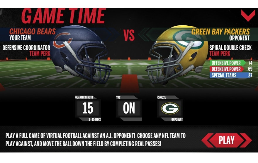 The Wilson X Connected Football app includes a full-game mode. Users can play a game as their favorite NFL team, whether they're on the gridiron on in the backyard. The app tracks their progress.
