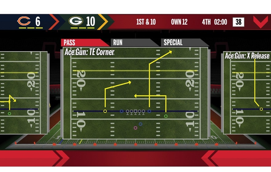 Calling a play in the Wilson X Connected Football app.