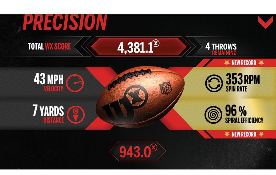 Players can test their throwing ability in the Wilson X app. In the 'Precision' game mode, the Wilson X football calculates velocity, distance, spin rate and spiral efficiency.