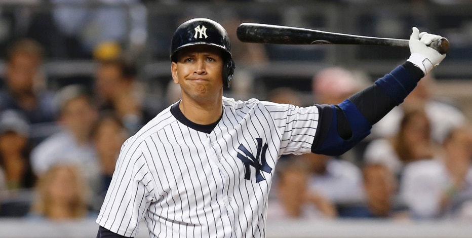 FILE - In this May 26, 2015 file photo, New York Yankees designated hitter Alex Rodriguez reacts during a seventh-inning at-bat in a baseball game against the Kansas City Royals at Yankee Stadium in New York. Since Rodriguez announced that Friday, Aug. 12, will be his last game, his value has suddenly soared, at least when it comes to ticket prices. Despite a .204 batting average this season, baseball fans are suddenly willing to pay four times the normal price to see A-Rod play the Tampa Bay Rays on Friday. (AP Photo/File, Kathy Willens)