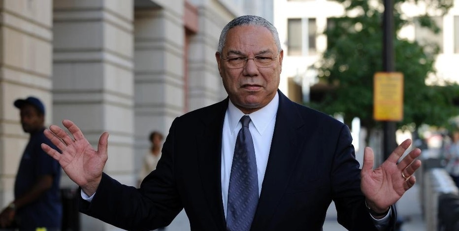 FILE - In this Oct. 10, 2008 file photo, former Secretary of State Colin Powell is seen in Washington. Powell says he sent Hillary Clinton a memo touting his use of a personal email account after she took over as the nation's top diplomat in 2009. (AP Photo/Susan Walsh, File)
