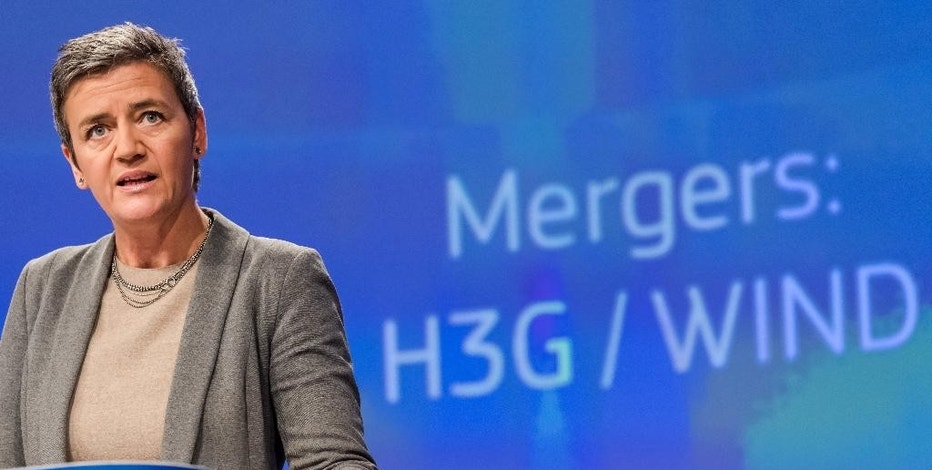 European Union Competition Commissioner Margrethe Vestager speaks during a media conference at EU headquarters in Brussels on, Thursday, Sept. 1, 2016. The European Commission has approved under the EU Merger Regulation a proposed telecommunications joint venture between Hutchison and VimpelCom in Italy. The approval is conditional on the divestment of sufficient assets that will allow a new operator to enter the market. (AP Photo/Geert Vanden Wijngaert)