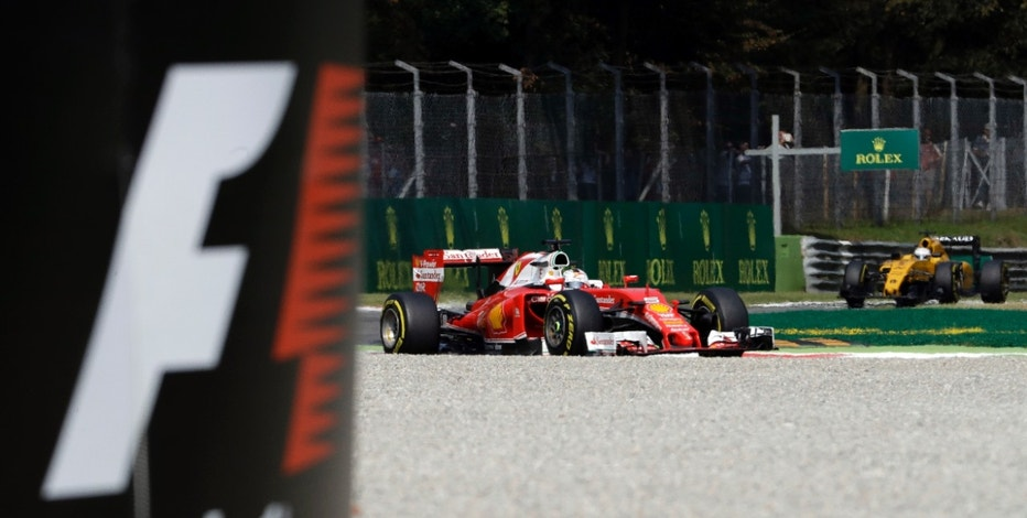 Germany's Sebastian Vettel steers his Ferrari during the second practice session for Sunday's Formula One Italian Grand Prix, at the Monza racetrack, Italy, Friday, Sept. 2, 2016.