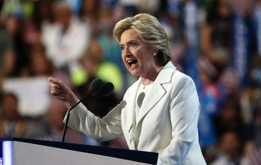 Democratic presidential nominee Hillary Clinton accepts the nomination on the fourth and final night at the Democratic National Convention.