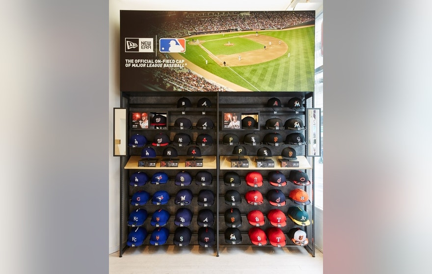 A display of New Era MLB caps in the league's pop-up store in London.