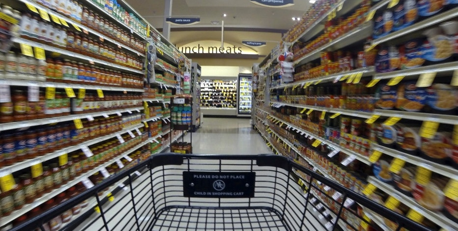 Groceries are shown on the shelves at a Vons grocery store in Encinitas, California.