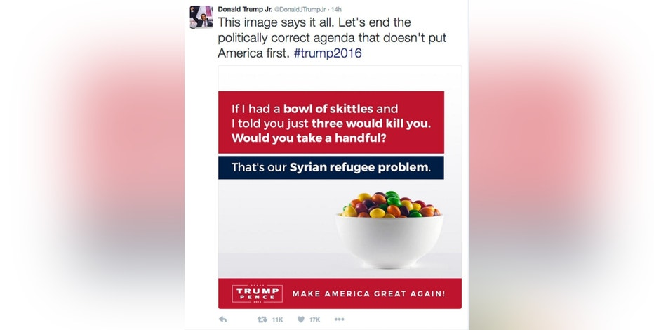 "This screenshot shows the tweet posted on Monday, Sept. 19, 2016, by Donald Trump Jr., in which he compares Syrian refugees to a bowl of poisoned Skittles. The post caused a stir and negative tweets on the internet into Tuesday, including a terse response from Skittles parent company, Wrigley Americas. ""Skittles are candy. Refugees are people. We don't feel it's an appropriate analogy,"" Vice President of Corporate Affairs Denise Young said in the statement. (Twitter via AP)"