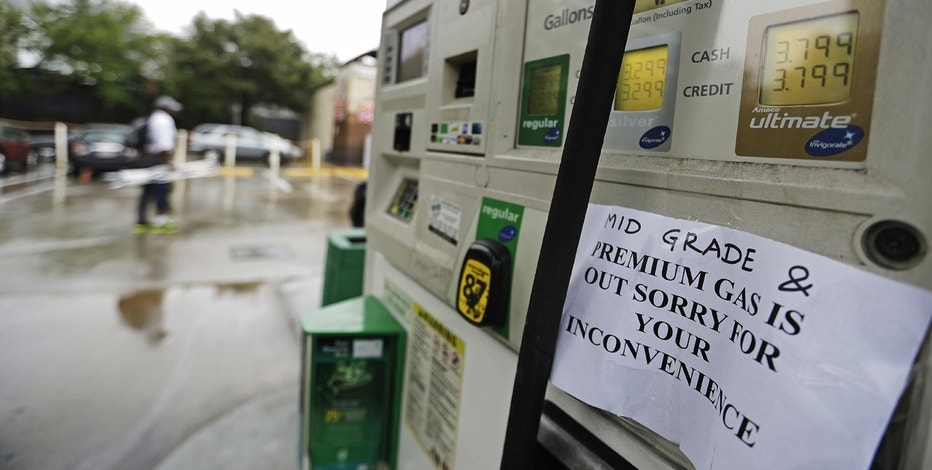 A gas station displays a sign informing customers it is out of certain grades of gasoline in Atlanta, Sunday, Sept. 18, 2016. Colonial Pipeline said it is beginning construction of a temporary pipeline that will bypass a leaking section of its main gasoline pipeline in Shelby County, Ala. Fuel supplies in at least five states, Alabama, Georgia, Tennessee and the Carolinas, were threatened by the spill, and the U.S. Department of Transportation ordered the company responsible to take corrective action before the fuel starts flowing again.