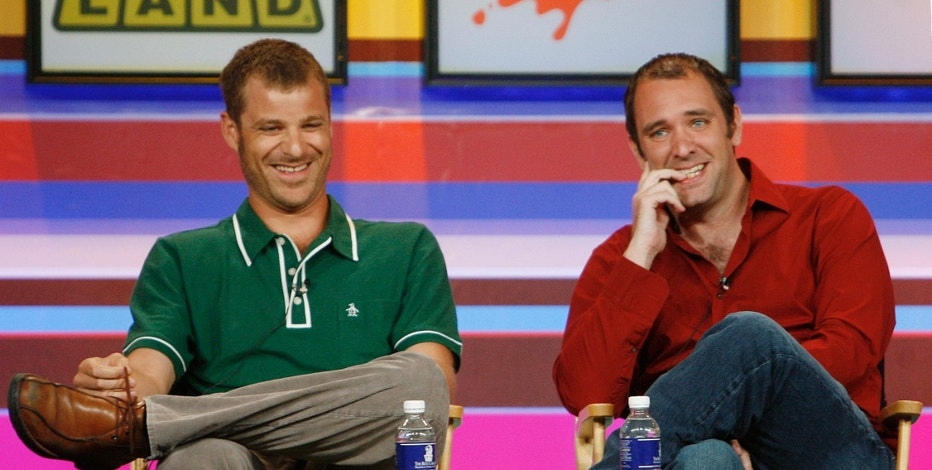"""Creators and producers of Comedy Central cable channel program """"South Park"""" Matt Stone (L) and Trey Parker take part in a panel discussion at the Cable Television Critics Association press tour in Pasadena, California, July 13, 2006. The adult-oriented comedy series is celebrating its tenth anniversary and premieres October 4.  REUTERS/Fred Prouser  (UNITED STATES) - RTR1FGYD"""