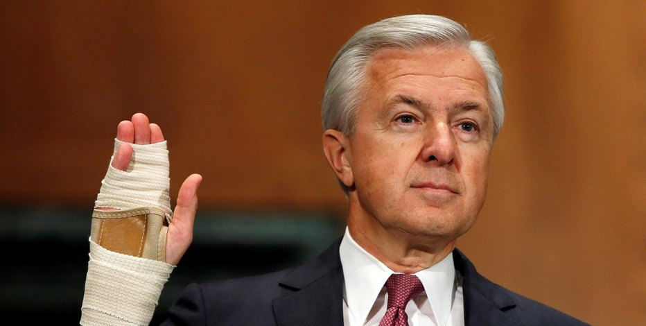 Wells Fargo CEO John Stumpf is sworn in before testifying at a Senate Banking Committee hearing on the firm's sales practices on Capitol Hill in Washington, U.S., September 20, 2016.