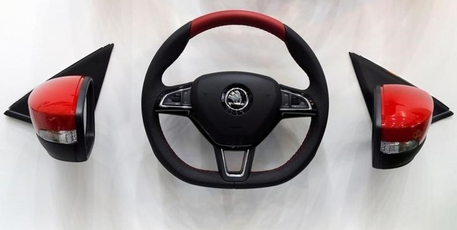 A Skoda logo on a steering wheel is seen at the Mondial de l'Automobile, Paris auto show, during media day in Paris, France, September 29, 2016. REUTERS/Jacky Naegelen