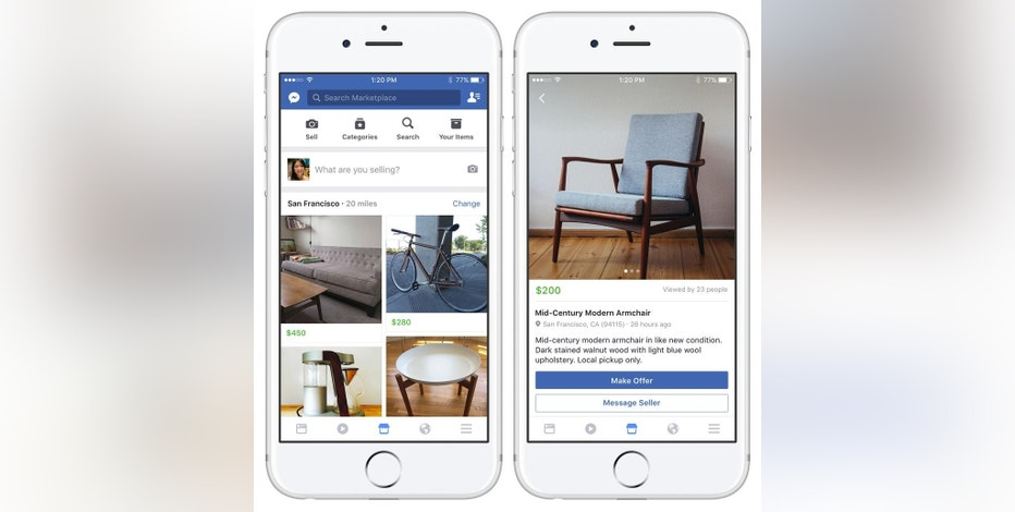 """These images provided by Facebook show smartphone screen grabs demonstrating Facebook's new """"Marketplace"""" section. Facebook Inc. said Monday, Oct. 3, 2016, the most popular items people currently buy and sell on the service include furniture, cars and clothes. (Facebook via AP)"""