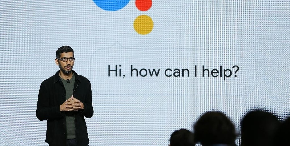 "Google CEO Sundar Pichai talks about the new Google Assistant during a product event, Tuesday, Oct. 4, 2016, in San Francisco. Google launched an aggressive challenge to Apple and Samsung, introducing its own new line of smartphones called Pixel, which are designed to showcase a digital helper the company calls ""Google Assistant."" The new phones represent a big new push by Google to sell its own consumer devices, instead of largely just supplying software for other manufacturers. (AP Photo/Eric Risberg)"