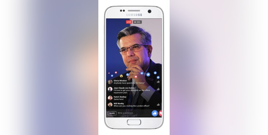This image provided by Facebook shows a live chat demonstration using Facebook's Workplace on an Android smartphone. Facebook is launching a communications tool Monday, Oct. 10, 2016, for businesses, nonprofits and other organizations. Called Workplace, the platform is ad-free and isn't connected to existing Facebook accounts. Instead, employers sign up as an organization. Businesses have to pay, but Facebook is offering it to schools and nonprofits for free. (Facebook via AP)