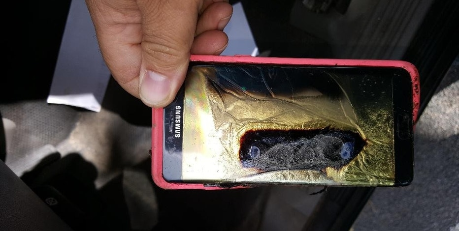 "This Friday, Oct. 7, 2016, photo provided by Andrew Zuis, of Farmington, Minn., shows the replacement Samsung Galaxy Note 7 phone belonging to his 13-year-old daughter Abby, that melted in her hand earlier in the day. ""She's done with Note 7s right now,"" Zuis said of his daughter. Reports of more replacement phones catching fire are trickling in, and the South Korean tech giant faces more scrutiny after earlier criticism for being slow to react and sending confusing signals in the first days of the recall. (Andrew Zuis via AP)"