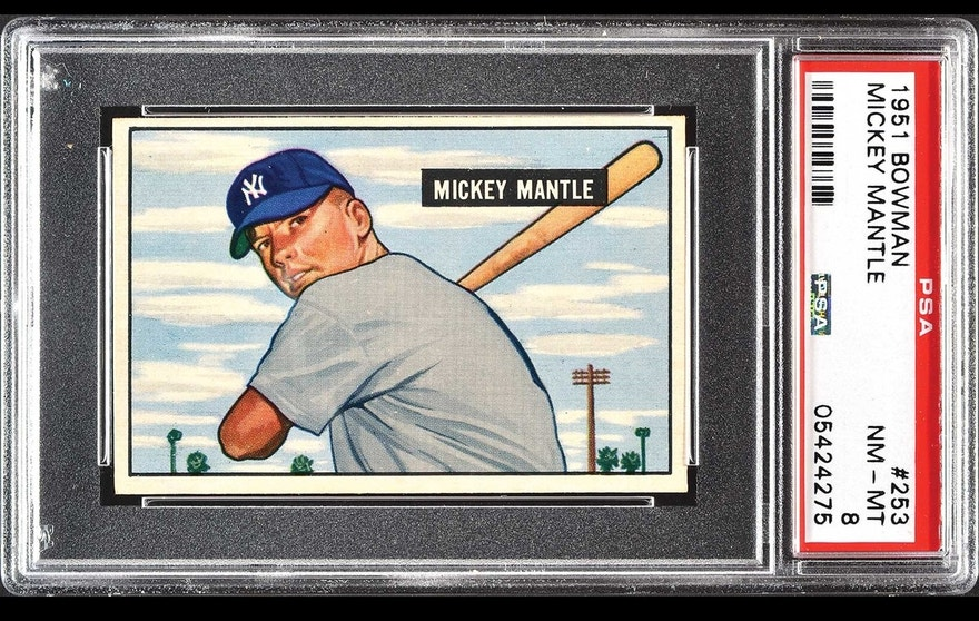 A 1951 Bowman Mickey Mantle rookie card