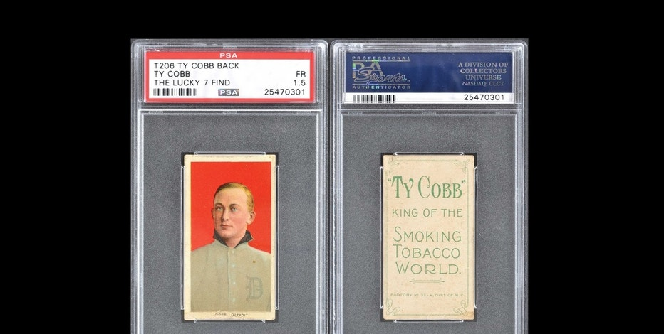 This rare 1910s-era Ty Cobb baseball card worth an estimated $200,000 was found in a paper bag with six other cards featuring the Hall of Fame player. The 'Lucky 7 Find' is up for sale in an online auction.