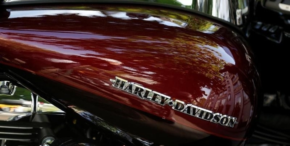 The logo of Harley Davidson company is pictured on a motorcycle in Paris, France, May 8, 2016. REUTERS/Jacky Naegelen