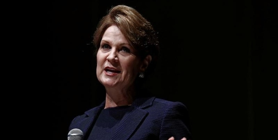 Marillyn Hewson, Chairwoman, President and CEO of Lockheed Martin, speaks at a key note speech session during Japan Aerospace 2016 air show in Tokyo, Japan, October 12, 2016.   REUTERS/Kim Kyung-Hoon
