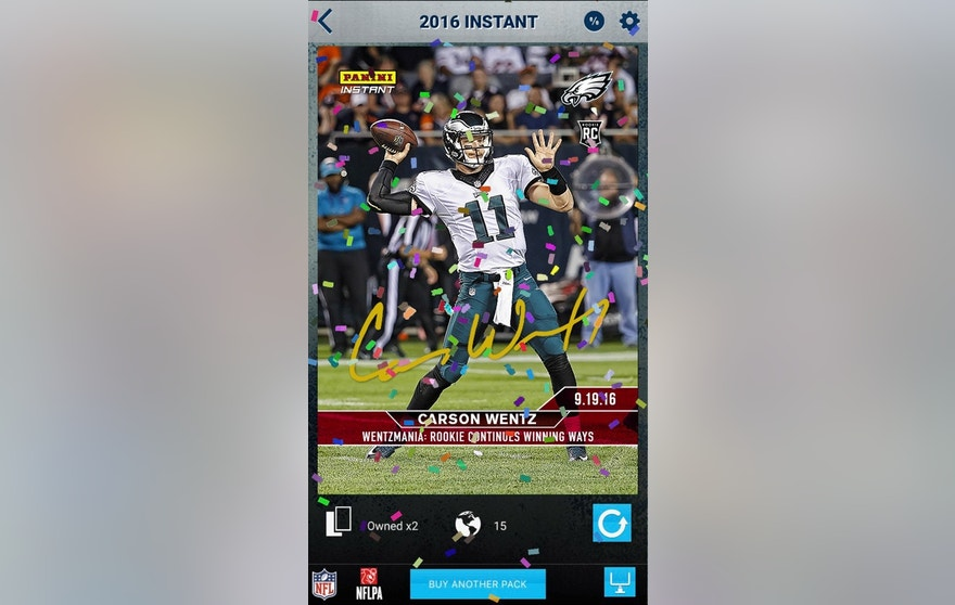 A screenshot of Panini America's Gridiron football app when a customer opens a Carson Wentz autographed card.