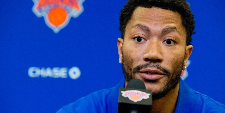 FILE - In this June 24, 2016, file photo, Derrick Rose speaks during a news conference at Madison Square Garden in New York. NBA star Rose is set to return to the witness stand in a $21 million lawsuit that alleges he and two friends raped an incapacitated woman. Before Rose retakes the stand Tuesday, Oct. 11, a judge will consider a mistrial request from Rose's lawyer. (AP Photo/Mary Altaffer, File)