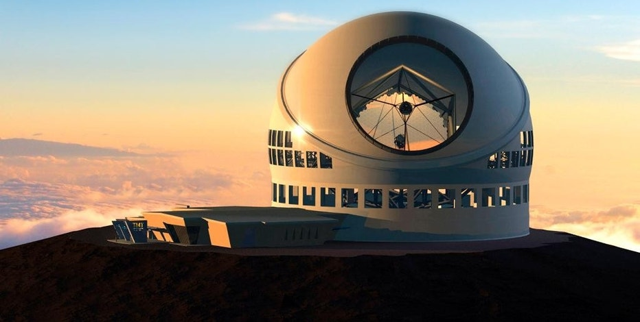 FILE - This undated file artist rendering made available by the TMT Observatory Corporation shows the proposed Thirty Meter Telescope, planned to be built atop Mauna Kea, a large dormant volcano in Hilo on the Big Island of Hawaii in Hawaii. The $1.4 billion project to build one of the world's largest telescopes is up against intense protests by Native Hawaiians and others who say building it on the Big Island's Mauna Kea mountain will desecrate sacred land. (TMT Observatory Corporation via AP, File)