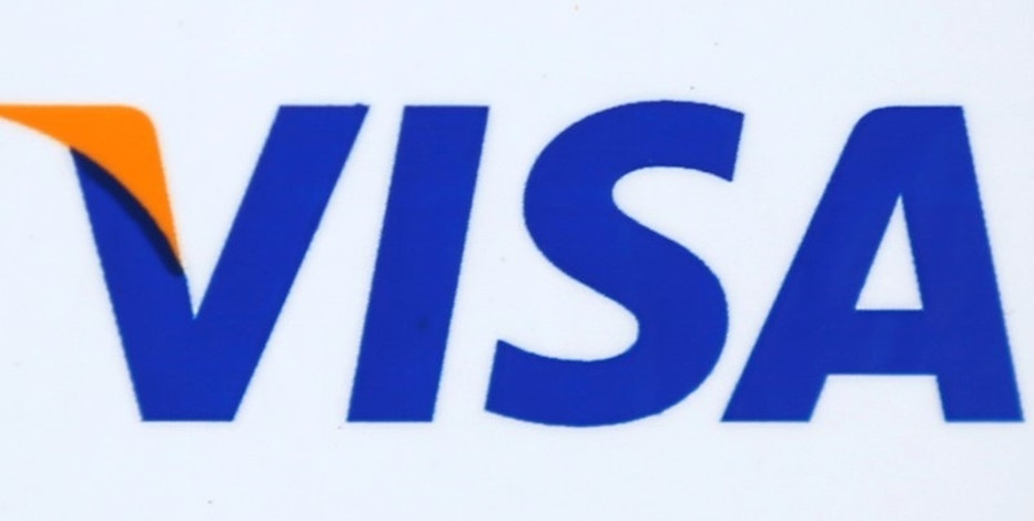 The logo of Dow Jones Industrial Average stock market index listed company Visa (V) is seen in Los Angeles, California, United States, April 25, 2016.  REUTERS/Lucy Nicholson