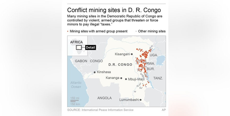 Map locates areas of the Democratic Republic of Congo where armed groups are mining sites; 2c x 3 1/2 inches; 96.3 mm x 88 mm;