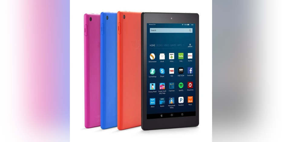 FILE - This undated file image provided by Amazon shows color options of the new Amazon Fire HD 8 tablet. Amazon's Fire tablets are getting the Alexa voice assistant. The previously announced feature will start rolling out to customers Wednesday, Oct. 26, 2016. It's meant to complement what users get on other Alexa devices, such as the Echo speaker. Through voice commands, users can get the news read out to them or listen to music from services such as Amazon Music or Pandora. (Amazon via AP, File)