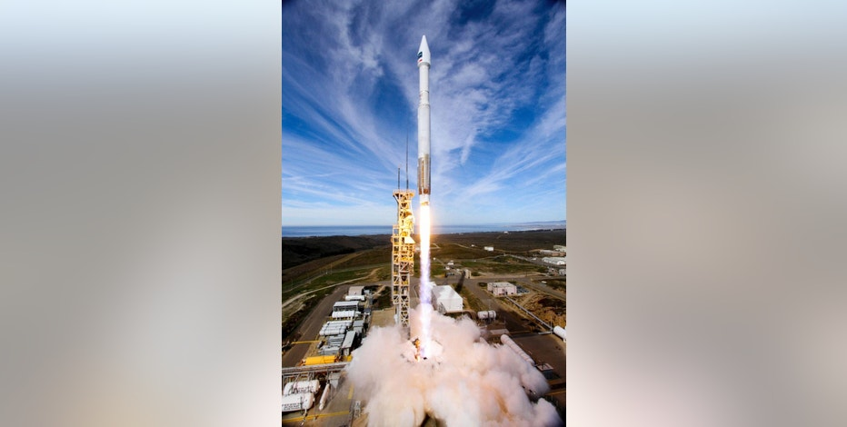 In this photo provided by United Launch Alliance, an Atlas 5 rocket carrying the WorldView-4 satellite is launched at the Vandenberg Air Force Base, Calif., on Friday, Nov. 11, 2016. The satellite is designed to produce high-resolution images of Earth from space. (United Launch Alliance via AP)