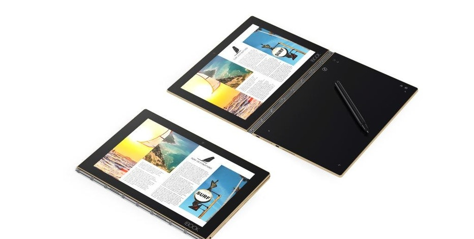 FILE - This file image provided by Lenovo shows the company's Yoga Book, which doesn't have a physical keyboard. The Yoga Book retains the clamshell design of a laptop, but puts a second touch screen where the keyboard normally goes. People can type on a touchscreen keyboard there, or just write or draw on that second screen with an included stylus. Although Lenovo calls Yoga Book a tablet, the keyboard part isn't detachable, making the device a laptop. The keyboard, though, can fold all the way to the back to make the device feel more like a tablet. (Courtesy of Lenovo via AP, File)