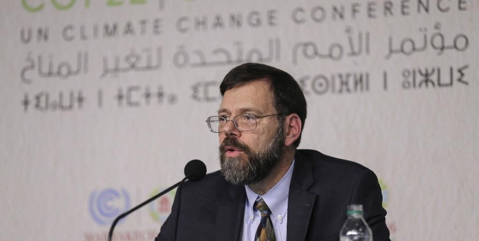 State Department Special Envoy for Climate Change, Jonathan Pershing, holds a press conference at the Climate Conference, known as COP22, in Marrakech, Morocco, Monday, Nov. 14, 2016. (AP Photo/Mosa'ab Elshamy)