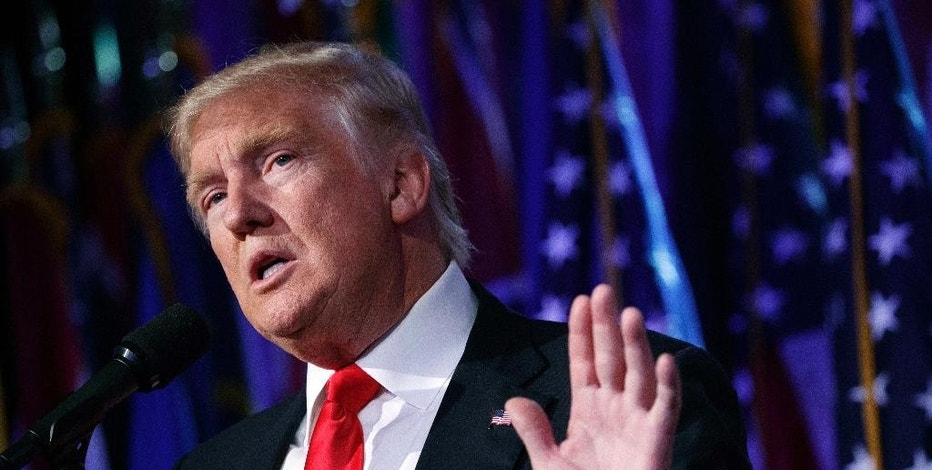 FILE - In this Nov. 9, 2016, file photo, President-elect Donald Trump speaks during a rally in New York. CEOs of major companies are taking stands about the results of the November 2016 U.S. election, a departure from the traditional model of not mixing politics with business that the major brands have long espoused. The men and woman who head the nation's biggest companies know that having a hostile relationship with the incoming Trump Administration could make doing business difficult. (AP Photo/ Evan Vucci, File)